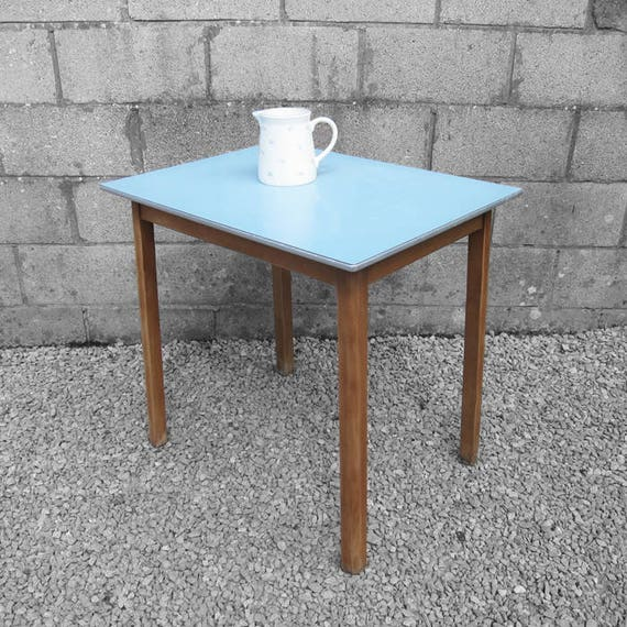 Blue Formica Dining Table Vintage Retro Kitchen