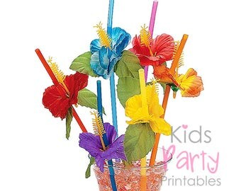 Moana Party Supplies, 12 Hibiscus Flower Drink Straws, Luau Party Supplies, Tropical Straws, Luau Birthday Party, Hawaiian Theme Party