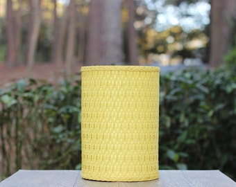 Vintage Yellow Woven Trash Can / Woven Yellow Trash Can / Yellow Waste  Basket / Yellow