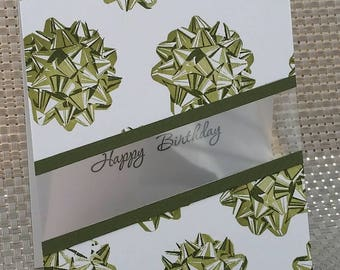 Birthday Card - Green Gift Bows - This listing is for only one card!
