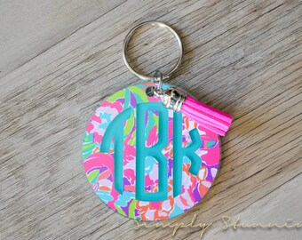 Lilly Pulitzer Monogrammed Keychain, Monogram Key chain, Lilly Pulitzer Inspired Keychain, Best friend, Pink