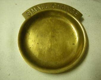 vtge change tray-brass tray-small change-trinkets-dresser top-coins storage-rings dish-