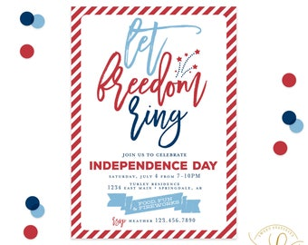 4th of July Invitation | July 4th Invitation | Fourth of July Invitation | Let Freedom Ring | Independence Day Invitation | Patriotic Invite