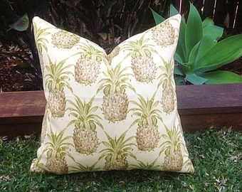 Outdoor Pineapple Tropical Outdoor Pillows, Outdoor Cushion Covers, Scatter Cushion. Pineapple Cushion Cover. Yellow, Gold Cushion Covers