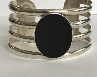 Taxco Onyx Sterling Cuff Bracelet 925 Silver Mexico Mexican Vintage Southwestern Jewelry Birthday Anniversary Graduation Mother's Gift Boho