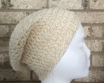Ready To Ship Slouchy Hat Metallic  Gold Ivory Slouchy Beanie  Crochet Hat Beanie Women's Crochet Hat Accessories Gifts For Her