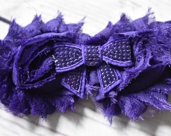Purple Shabby Rose Headband Hair Bow