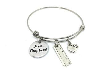 Teacher Personalized Gift-Adjustable Bangle Bracelet-End of year Teacher Gift-Teacher Christmas Gift