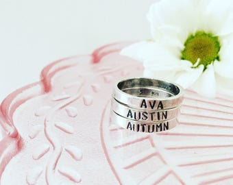 Rings, sterling silver, name rings, 3mm rings, custom rings, handstamped