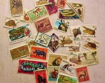30 Creatures mix postage stamps, set 2