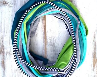 Turquoise kiwi green white infinity pachwork scarf with tshirt yarn mixed media upcycled scarf Bohemian style boho fashion eco style recycle