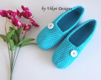 Extra Thick Crochet Slippers, Turquoise Womens Slippers, Indoor House Shoes by Vikni Designs