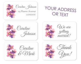 Custom Flower Return Address Labels /  Personalised Address Stickers / Wedding / Save The Date Stickers, Parcels, Letters and Gift Wrapping