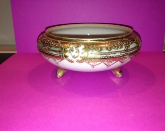 Antique, hand-painted, 3 footed Nippon porcelain trinket dish
