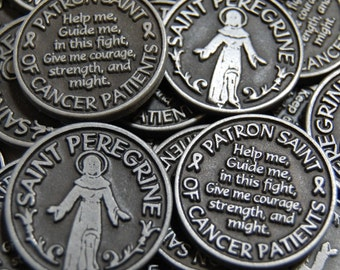 Saint Peregrine Patron of Cancer Patients Pocket Tokens - SET OF 10
