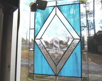 Handcrafted Stained Glass Panel Hatteras Lighthouse Etched Center Piece