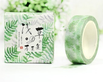 Washi Tape - Pale Green Leaves deco washi tape - Japanese masking tape, planner stickers, decorative stickers