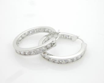 Vintage Sterling Silver/925 Round Cubic Zirconia Hoop Earrings; sku # 3528