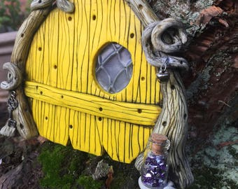 Yellow Woodland Fairy Door