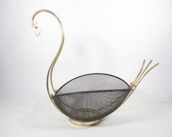 Mid Century Black Mesh Wire Brass Swan Basket -  Black Metal Mesh Brass Basket