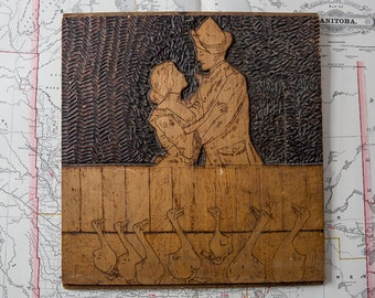 WWI Hand Carved Trench Art Wooden Portrait. Sweethearts.