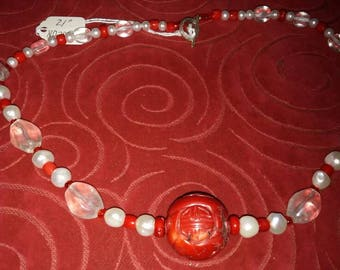 Carved coral pearls and vintage glass Necklace