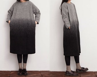 520---Ombre Knit Wool Tunic Dress, Winter Dress.