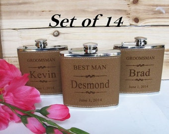 Set of 14 Personalized Wedding Party Favors for Men and Women // Best Man and Maid of Honor Gift Flasks // Bride & Groom Gift Flasks
