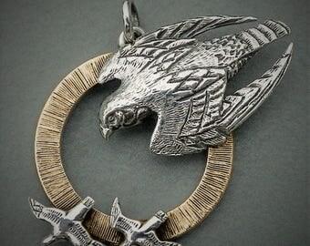 Peregrine Falcon necklace , gold and silver falcon pendant
