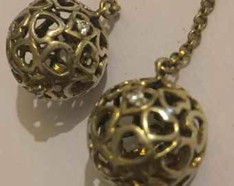 1990s Sterling Silver Crystal Caged Ball Drop Earrings - Bridal Earrings