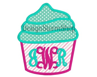Cupcake Applique Design/Machine Embroidery Cupcake/Monogram/Instant Digital File Download/Birthday Cute Embroidery Design/Boy or Girl