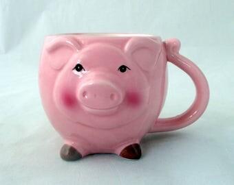 Pig mug, pig candle, bacon candle, soy candle, large mug candle, animal candle, pig decor, mug candle, gift candle, farm animal mug
