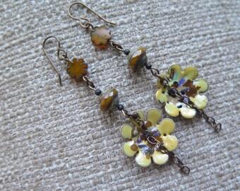 yellow earrings, flower earrings, enamel earrings, lightweight earrings, spring earrings, floral earrings, sunflower yellow earrings, gift