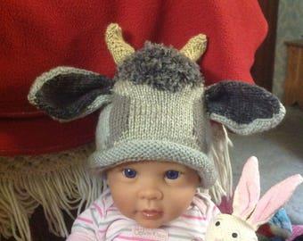 Knit Baby Goat, Billy Goat hat
