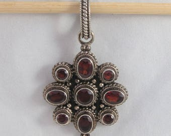 Made in India Large Garnet Silver Sterling Floral Pendant
