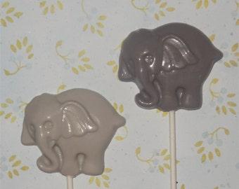 12) Chocolate Elephant Lollipop Favor Circus Big Top Baby Shower Party  Favor Choose Your Color