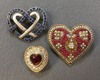 A Trio of Pretty Rhinestone Heart Brooches.  Free shipping