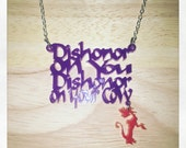 Mulan Inspired Dishonor Mushu Acrylic Necklace
