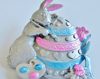 JJ Jonette Easter Bunny Painting Easter Egg Brooch Pin