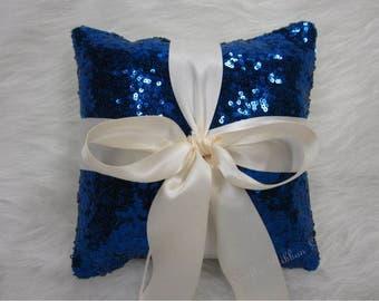 Royal Blue Glitz Sequins Ring Bearer 8 x 8 pillow. Wedding pillow
