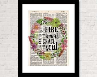 She Has Fire In Her Heart And Grace In Her Soul - Print Only - Flowers and Feathers Wreath - Green - Boho Wall Art -  Dictionary Page Art