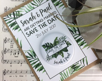Wedding Save The Date Magnets Tropical Palm Leaf Design (Complete With Backing Postcards)