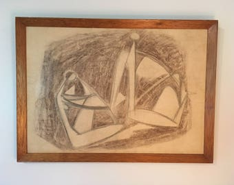 Vintage Mid Century Modern Original Abstract Painting/ Drawing - Eames