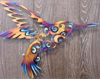 11th Anniversary Heated Stainless Steel Hummingbird Wall Art