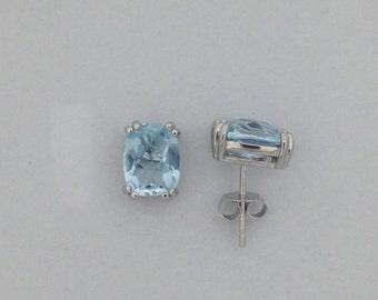Natural Blue Topaz Stud Earrings 925 Sterling Silver