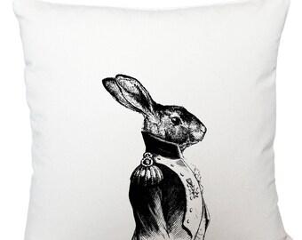General hare cushion cover, scatter cushion, throw cushion, white cushion