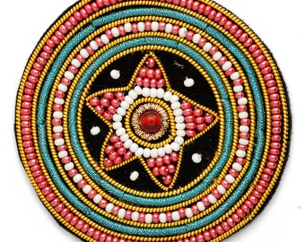 "Stitch-on Beaded Applique Patch by pc, 2-3/8""D, OSB-30480"