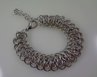 Silver Viperscale Chainmail Bracelet, Chainmaille Bracelet, Chain Maille Bracelet, Chain Mail Bracelet