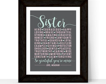 Personalized Gift for Sister gift | Christmas Gift for Sister | Maid of Honor Gift | Print or Canvas | Custom Colors | Sisters subway art