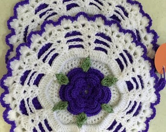 Purple Potholders, Rose Potholders, Crochet Potholders, Delicate Potholders, House Warming Gift, Mother's Day Gift